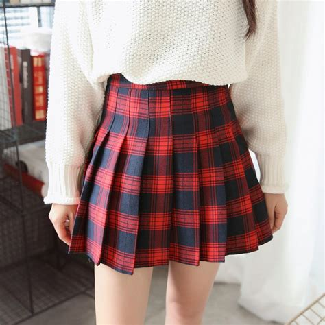 itGirl Shop   CHECKERED SCHOOL RED WHITE PLAID PLEATED SKIRT