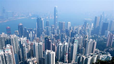 Hong Kong skyline from the Peak   looking north from