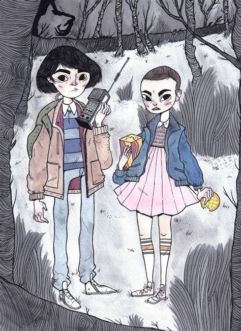 Finally found time to draw Mike and Eleven from Stranger