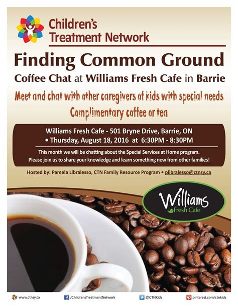 Children's Treatment Network - Evening Coffee Chat- Barrie