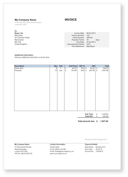 Free Invoice Template in Word for UK Sole Traders
