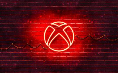 Download wallpapers Xbox red logo, 4k, red brickwall, Xbox