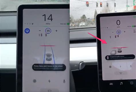 Tesla Autopilot stopped at a red traffic light and stop