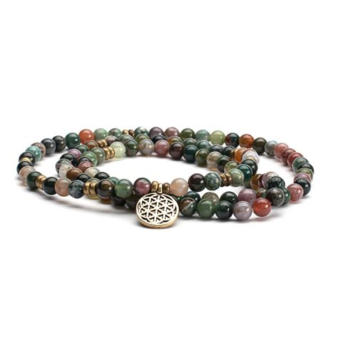 Mala long bracelet, indian agate with flower of life